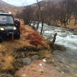 swollen river on remote road to Glen Etive bothy